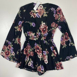 ILLA ILLA S NWT Cut Out Floral Bell Sleeve Romper